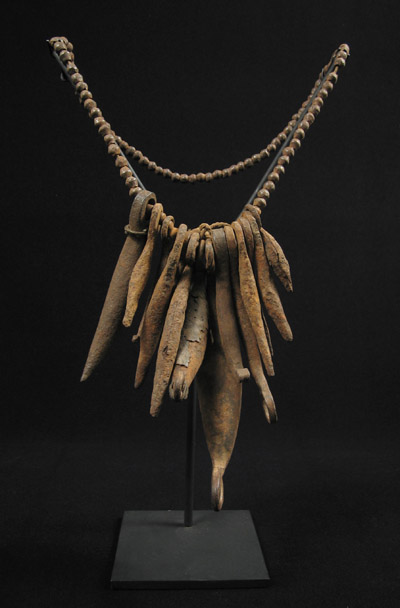 African Tribal Art - Iron pod necklace, Kirdi, Cameroon