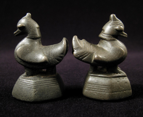 Asian Tribal Art - Hantha (duck) opium weights - Burma, back