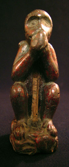 Asian Tribal Art - Wood monkey, China, front view