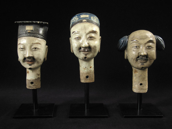 Asian Tribal Art - Ceramic puppet heads, China