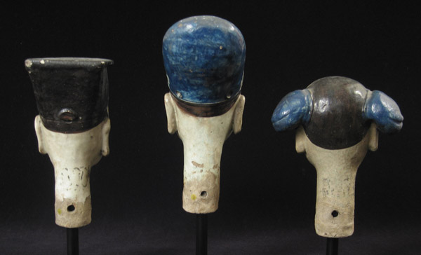 Asian Tribal Art - Ceramic puppet heads, China, back