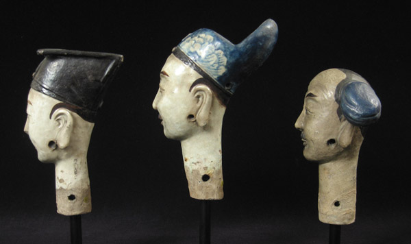 Asian Tribal Art - Ceramic puppet heads, China, right