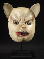Asian Tribal Art - Kitsune (white fox) mask, Japan